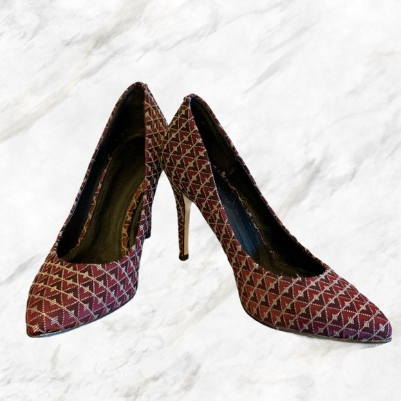 Le Château | Maroon Tapestry Patterned Heels